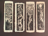SET 4 Original Woodcut Prints Day in Nature Collection for Hikers and Tree Huggers