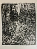 Matched Set Original Wood Engravings Two Pines Natures Peace hiking trails
