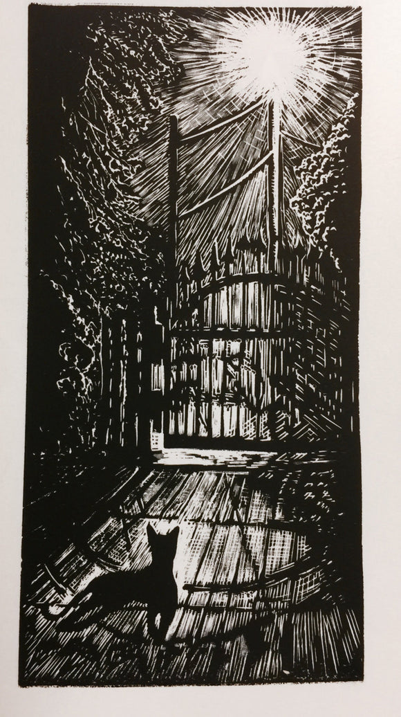 Cat Under Lampost Light Original Print Wood Engraving Woodcut Still of the Night
