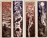 SET 4 Original Color Woodcut Prints Day in Nature Collection Hikers