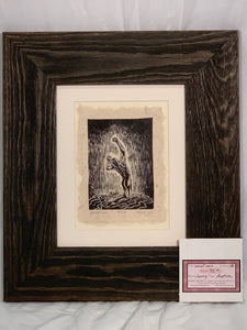 FRAMED 8X10 Sweet Rain Woodcut Original Print Male Classic Model Pose Rainy Sky