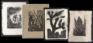 SET 4 Original Woodcut Prints Desert Landscape Collection Joshua Ocotillo Yucca Mojave Art