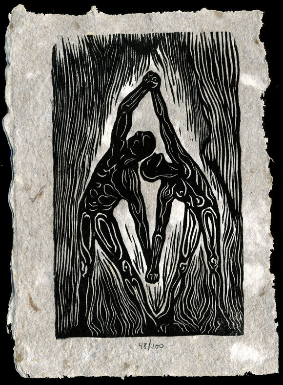 Original Woodcut Print Classic Partner Yoga Pose Unity Surreal Figures Wall Art