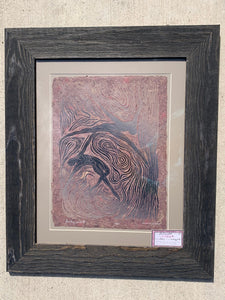 FRAMED 20x16 Woodblock Print Floating World II Pair Couple Dancing Figures Surreal Woodcut on Hickory Handmade Paper
