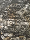 Grand Canyon Through the Trees Colorado River Original Woodcut Handmade Paper