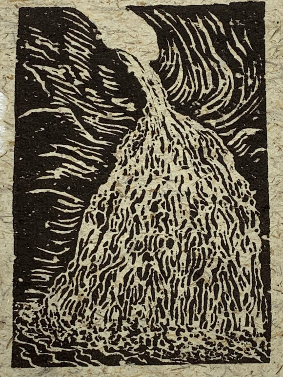 Lace Waterfall Original Woodcut Rock River Creek Mountain Landscape
