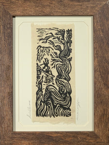 FRAMED 5x7 Original Woodcut Bristlecone Pine High Sierra Mountain