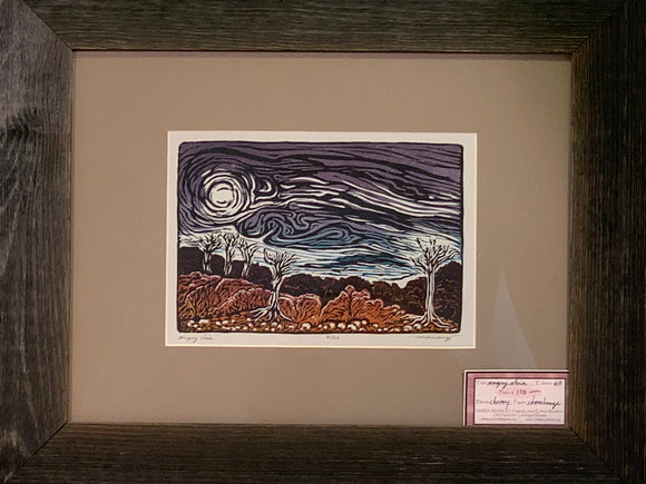 FRAMED 16X12 Angry Skies color woodcut Southwest desert landscape winter winds