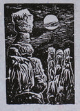 Original art Small woodcut Bryce Canyon landscape Queen Rock in moonlight
