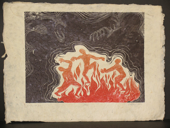 Woodcut Print Red Umber Color Woodblock Surreal Night Scene Figures Playing With Fire in Cave