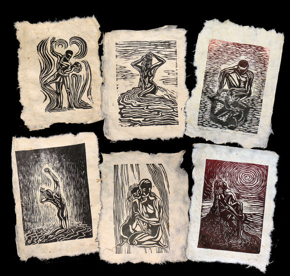 6 Woodcut Prints Original Art Collectors Set Unique Classic Figures Handmade Paper