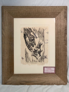 All wood FRAMED 16x12 Wood Engraving Toss a Few Seeds Surreal Seedlings Gardener Hands