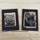 Twisted Bristlecone Starburst Yucca 5x7 Original Woodcut Nature Print SET Art Gift MAT or FRAMED