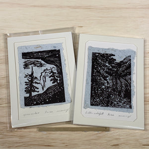 5x7 SET Original Woodcut Spruce Cave Cliff Hidden Fountain Waterfall Art Gift MAT or FRAME