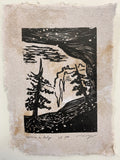SET 9 Original Woodcut Prints Trees National Park Canyon Hiker Landscapes