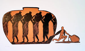 Original Woodcut Print Outsider Copper Vessel Greek Vase Figures Rebel Male