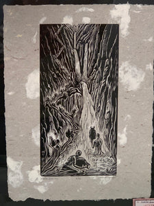 Original Print Woodcut Waterbearers Handmade Paper Desert Water Cycle Waterfall