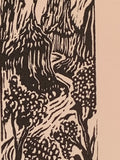 Canyon River Rapids Run original woodcut small print from Water in the Desert
