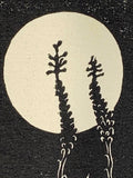 Moon Agaves Night Desert Landscape Classic Original Woodcut