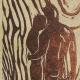 Couple Together Hopeful Look to Future In Love Original Woodcut Handmade Paper