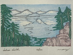 Tahoe Sketch Blue Lake Pine Trees Watercolor Original Woodblock Print