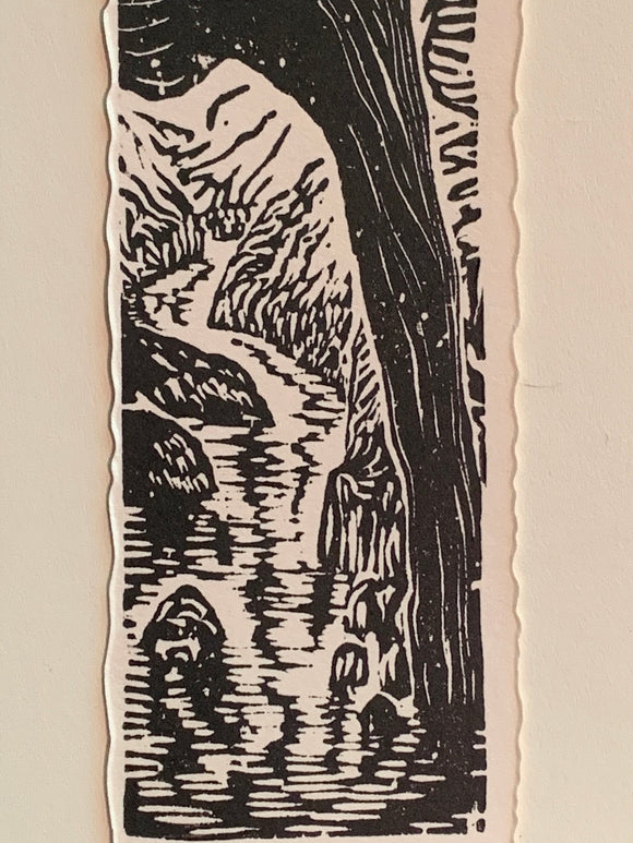 River Under a Natural Bridge original woodcut small print from Water in the Desert Landscape Collection