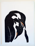 Nurture Original Color Woodcut Animal Penguin Child Art Mother Father