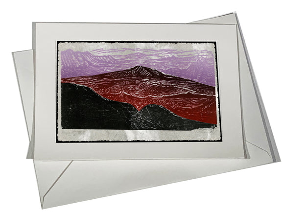 Purple Mountains Art Card Landscape Blue Purple Desert Mountain Canyons