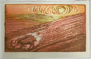 Keep the Plow in the Ground Field Horse Farmer Original Woodblock Print