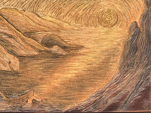 Hija del Sol Original Surreal Woman with Sunset Lake Hand-carved Cherry Woodblock Gold Copper Umber
