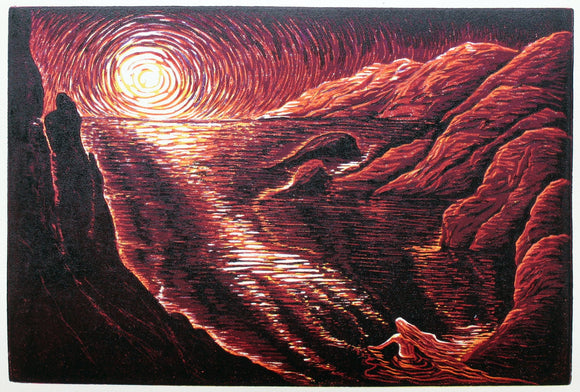 Original Woodcut Print Art Surreal Figure Escapism Lake and Woman