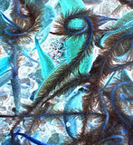 Seeds Awind Blue Turquoise Abstract Swirl Nature Fine Art Print