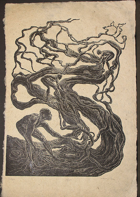 Original Woodcut Large Handmade Paper Surreal Male Figures Tangle Maze Tree Roots Branches