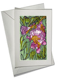 ART CARD Desert Willow Flower Bloom Pink Green Watercolor