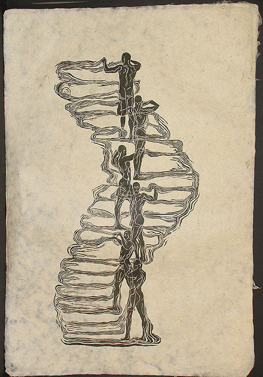 Woodcut Print Original Woodblock Art Surreal Male Figures Classic Pose Human Tower on Fiber Handmade Paper