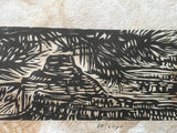 MATTED 16X12 Crows Nest Monument Grand Canyon Colorado River Landscape Woodcut