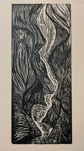 Traditional Woodcut Original Print Lure Me Into Slot Canyon Landscape Hiking Trail