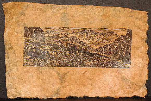 Red Rock Canyon Southwest Landscape Original Woodcut on Handmade Lotka Paper