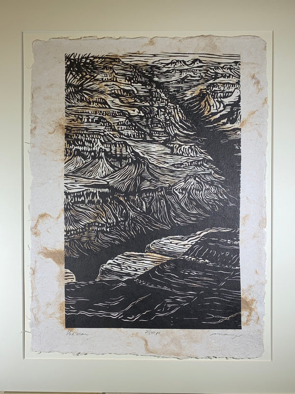MATTED 16X20 Original Woodcut Scar Grand Canyon Colorado River Handmade Paper