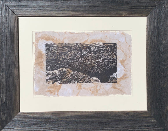 FRAMED Mesas View Grand Canyon Colorado River Southwest Landscape Handmade Paper