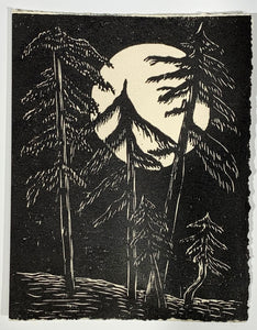 Moon Pines Landscape Classic Original Woodcut Mountain Forest