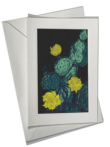 Desert Blooms Color ART CARD Southwest Bright Prickly Pear Cactus Flowers