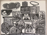 Original Woodcut City of the World 2012 5-panel (22x30 each) Collaborative Puzzle Print Very Limited 112 International Artists