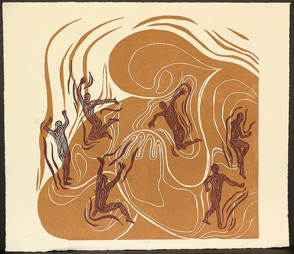 Woodblock Print Mother Earth Tender Hug Handful of Children Surreal Tan Copper Original Woodcut