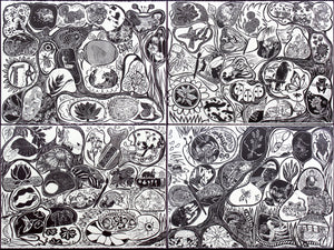 Original Woodcut Fantastic Garden Monumental Collaborative Puzzle Print Very Limited 92 International Artists