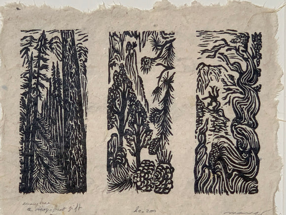 SET 3 Woodcut Prints High Sierra Pine Bristlecone Pinyon Trees Nature Landscape