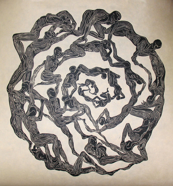 Original Woodcut Print Oculus Surreal Mandala Eye Figures in Circle Large Woodblock Art