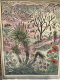 FRAMED 24X36 Original Hand Colored Woodcut Southwest Desert Landscape New Spring