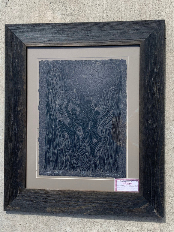FRAMED 20x16 Woodblock Print Floating World III Trio Dancing Figures Surreal Woodcut on black Hickory Handmade Paper