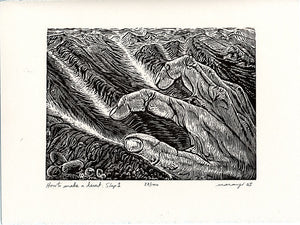 Original Woodcut Print Wood Engraving Surreal Hand Carving Desert Landscape